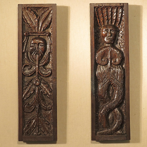 Pair of 16th Century Relief Carved Green Man Panels - £1750
