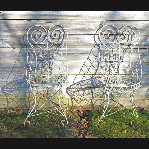A Pair of Edwardian Wirework Chairs - £775