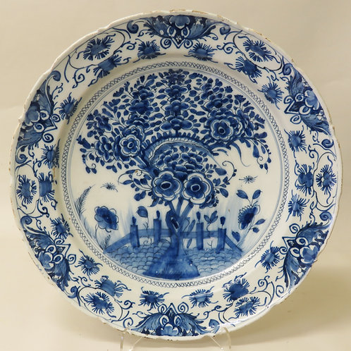 18th Century Floral Delft Plate