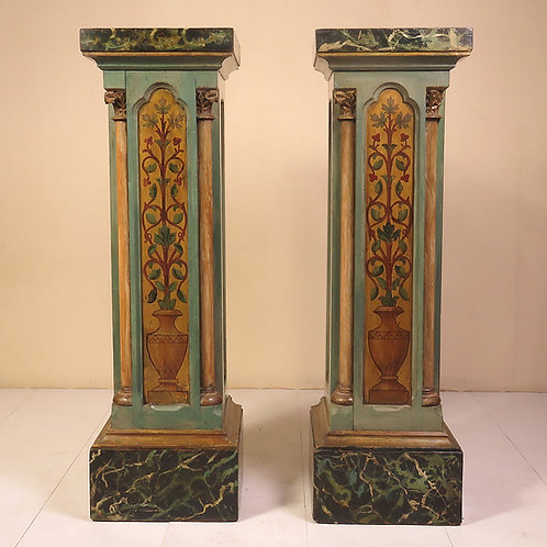 Pair of 19th Century Arts and Crafts Painted Pedestals - SOLD