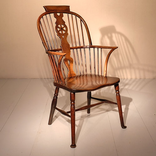 Early 19th Century Ash Wheel Back Arm Chair - SOLD