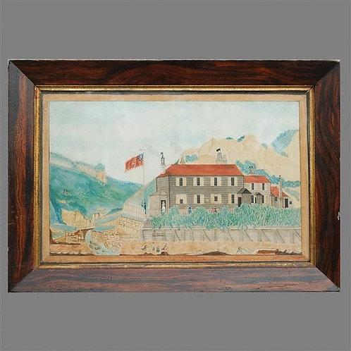 Naive Antique Watercolour of Ecclestone Coastguard Station