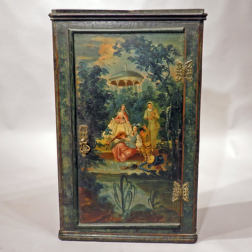 An Early 18th Century Painted Hanging Corner Cupboard - £3950