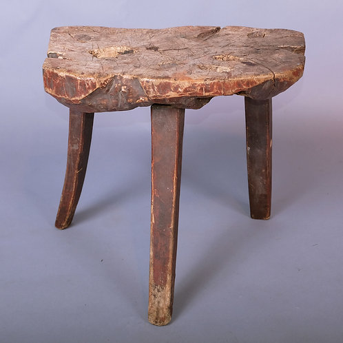 A Primitive Early 19th Century Burr Wood Painted Stool - £975