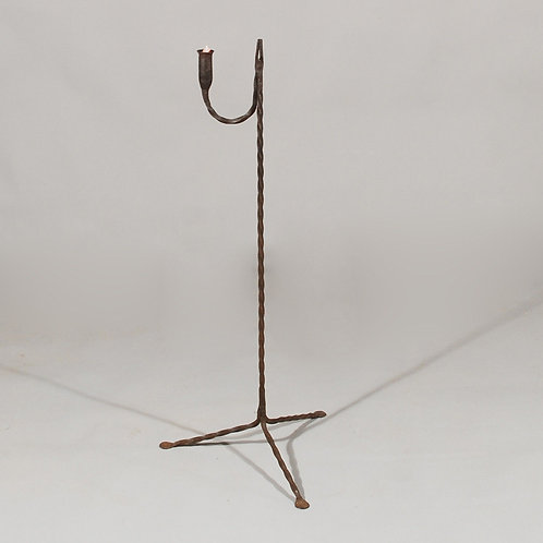 18th Century Wrought Iron Standing Rush Nip and Candle Holder - £950