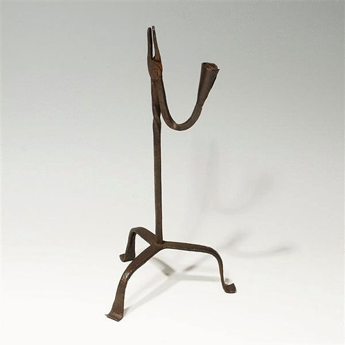 18th Century Wrought Iron Rush Light and Candle Holder - £685