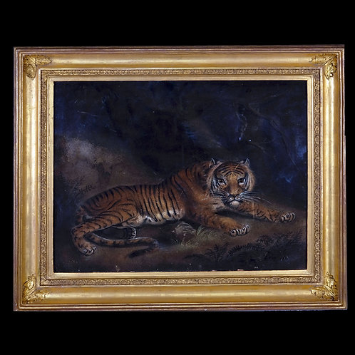 A 19th Century Sand Paper of a Tiger in a Cave - £3950