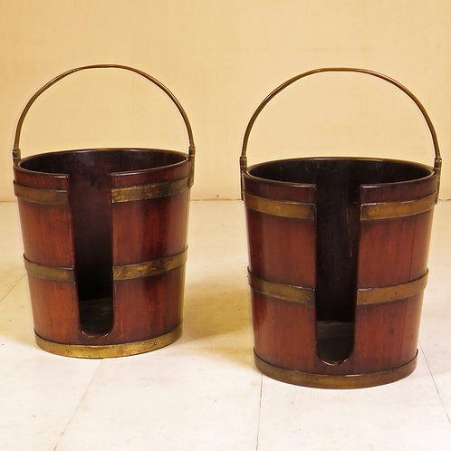 Pair of 18th Century Mahogany Plate Buckets