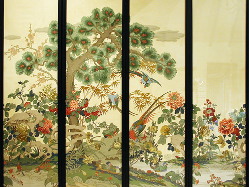A set of 4 Early 20th Century Sanderson Wallpaper Screens - £3800