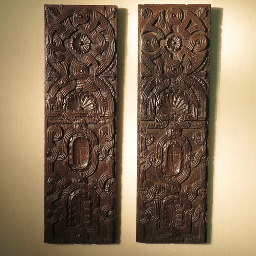 Pair of 16th Century Relief Carved Oak Panels