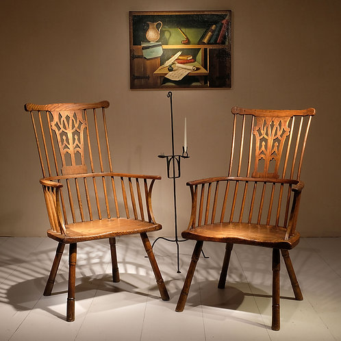 Pair of 18th century Chippendale period Gothic Comb Back Windsor Chairs - £12500