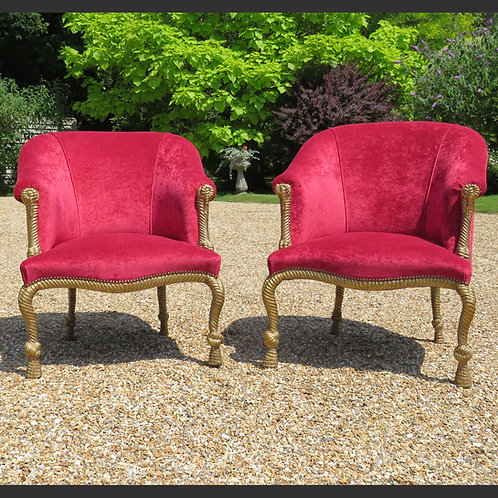 A Pair of 20th Century Upholstered Open Armchairs With Rope Twist Frames - SOLD