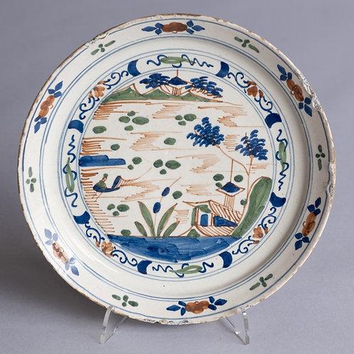 18th Century Dutch Delft Polychrome Dish