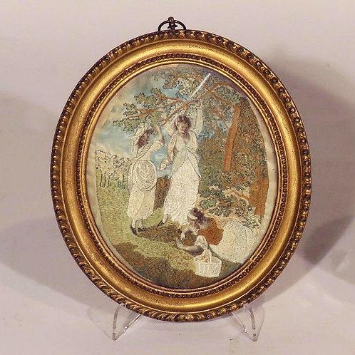 A Regency Period Figurative Silkwork Oval - £475