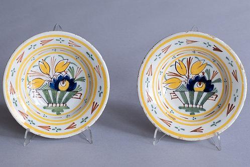 Pair 18th Century Delft Miniature Plates