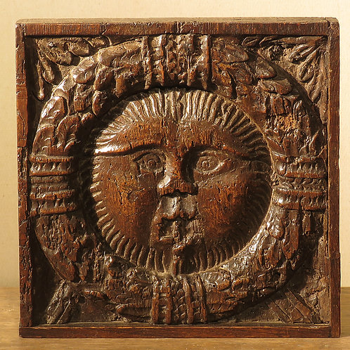 16th Century Relief Carved Oak Panel of the Sun - £1250