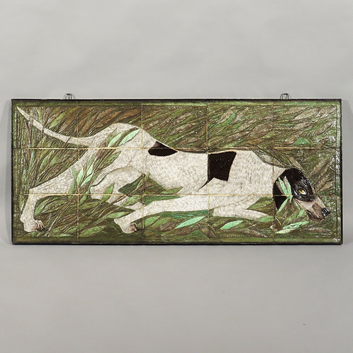 A 20th Century Studio Pottery Tile Picture of a Pointer in Scrub - £2950