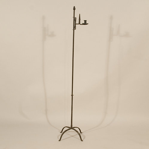 A Mid 18th Century Steel Adjustable Standing Rush Nip and Candleholder - £3450