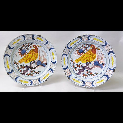 18th Century Pair of Delft Parrot Plates - £1450
