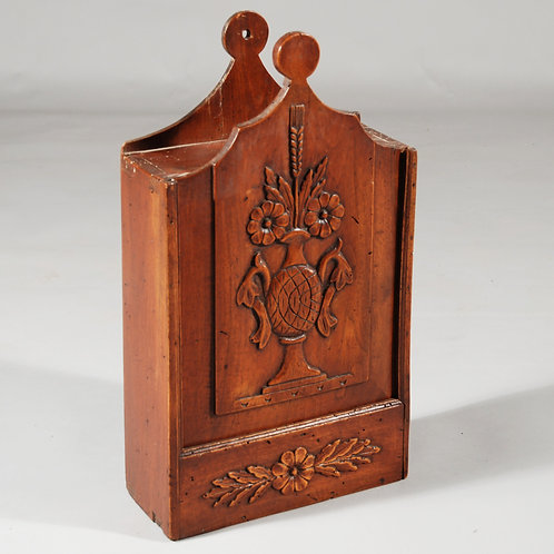 Early 19th Century French Fruitwood Carved Candle Box - SOLD