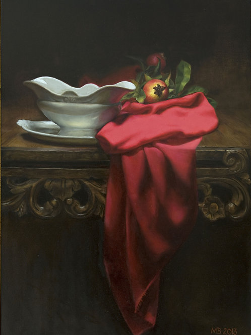 Red drape and white dish - Marilyn Bailey - £3100