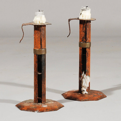 A pair of 18th Century Wedding Band Toleware Candlesticks - £1450