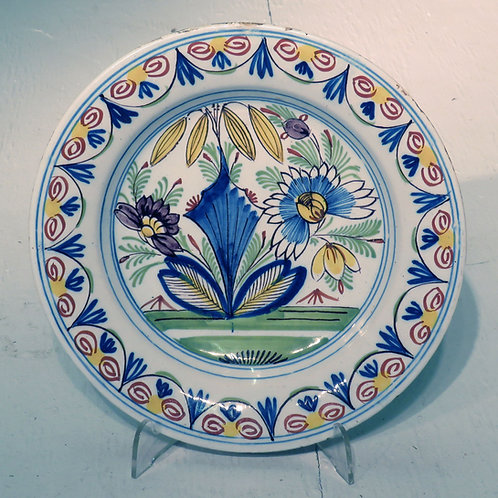 Mid 18th Century Dutch Polychrome Delft Plate - SOLD
