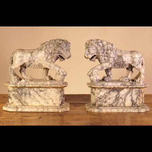 A Pair of 19th Century Grand Tour Alabaster Carved Lions - £4950