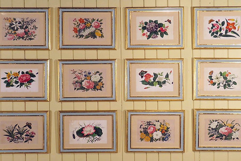 A Set of 12 Chinese Rice Paper Paintings Of Flowers and Butterflies - £6950