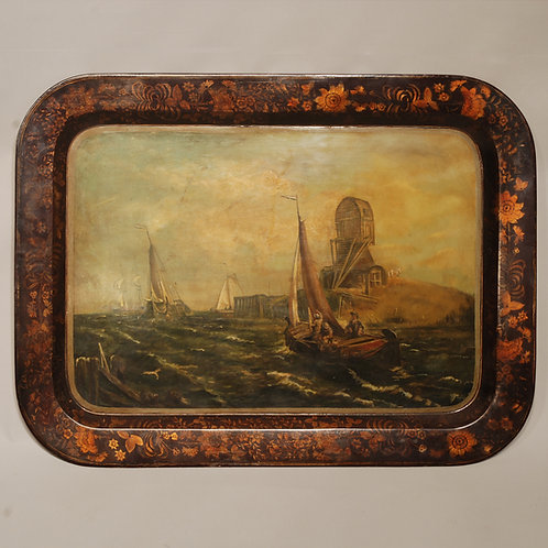 19th Century Toleware Painted and Gilt Decorated Tray - £850