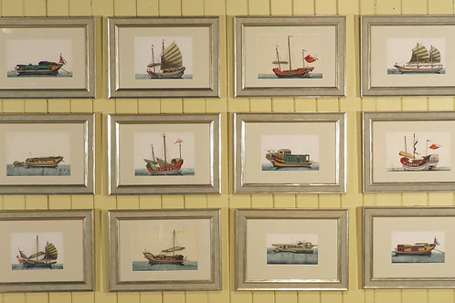 A set of 12 19th Century Chinese Rice Paper Paintings of Junks -SOLD