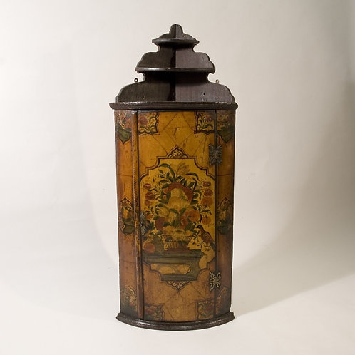 Early 18th Century Anglo Dutch Painted Hanging Corner Cupboard - £2950