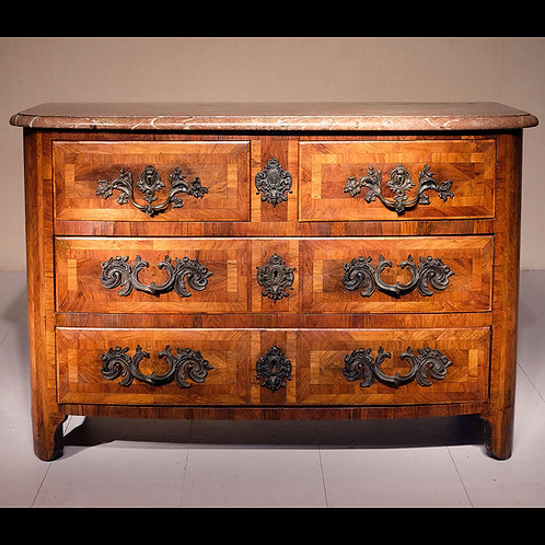 18th Century French Louis XV Walnut Marble Topped Commode - £6950
