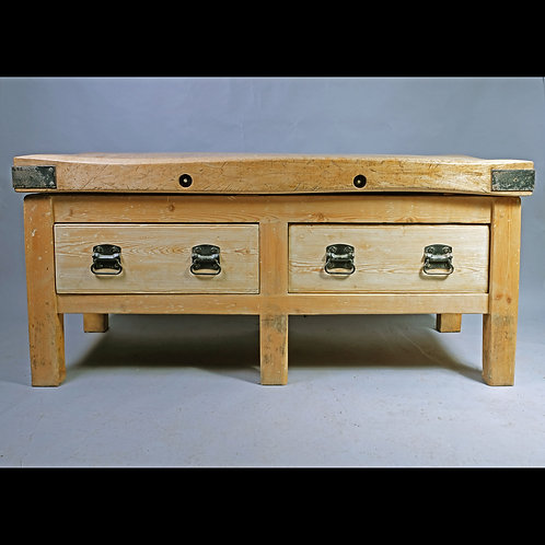 A Late 19th Century Fruitwood and Pine Butcher's Block - £2950