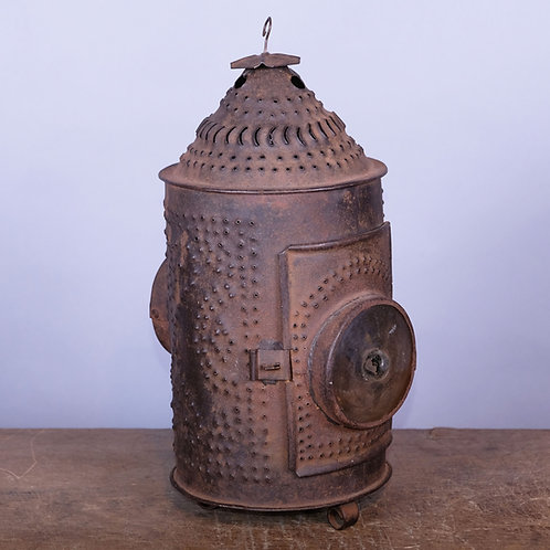 18th Century Pierced Sheet Iron Bullseye Lantern - £875