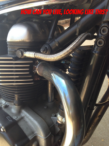 Triumph Bonneville Thruxton with no Finned exhaust clamps