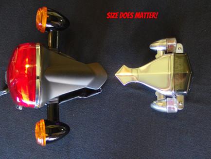 Bonneville stock tail light V Maundspeed size comparison