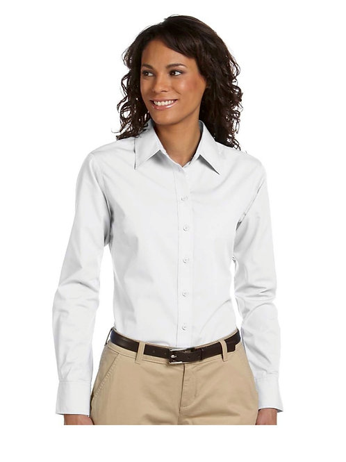 Ladies' White Slim Buttondown