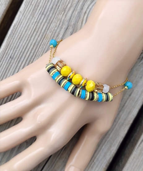 Bracelet duo turquoise or