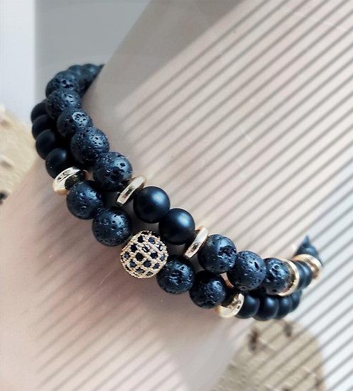Bracelets homme en perles de lave