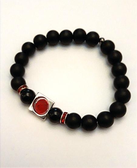 bracelet homme noir rouge argent