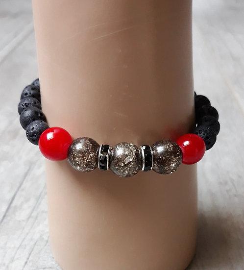 bracelet en perles de lave  homme