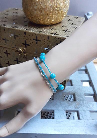 bracelet turquoise en verre