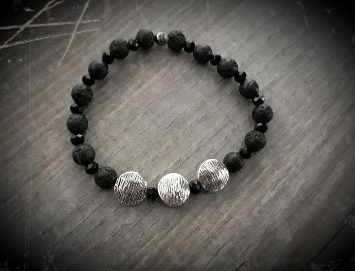 bracelet en perles de lave noir et argent