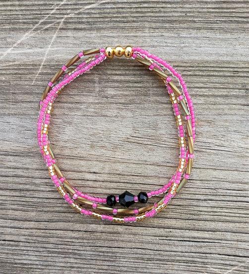 bracelet multi  rangs perles rose