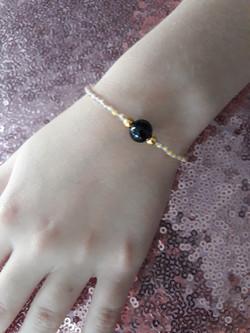 bracelet en perles de verre japonaises or parme et jaune