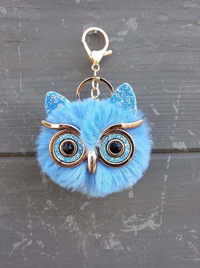 porte clés bijoux peluche hibou bleu