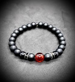 bracelet en perles de verre noir