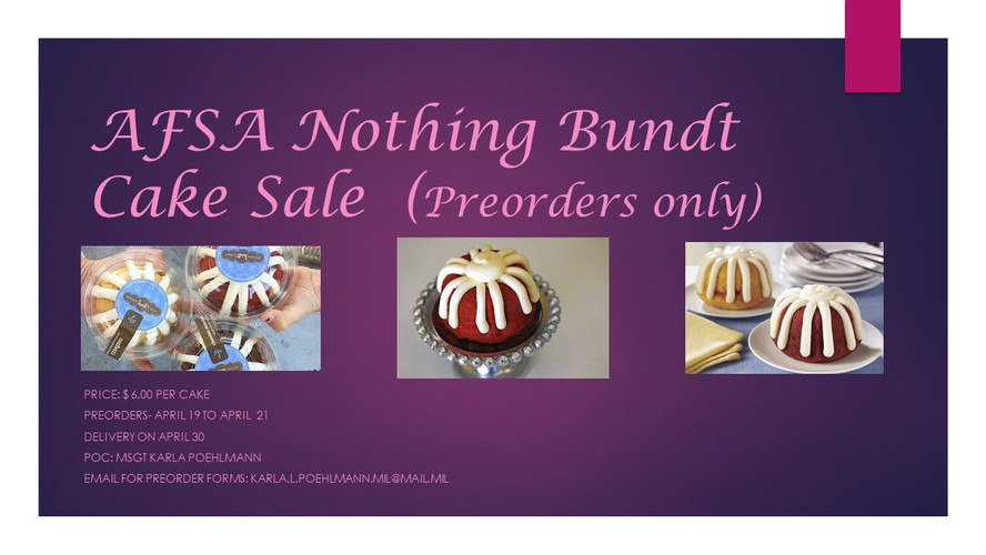 AFSA Nothing Bunt Cake Sale  (Preorders
