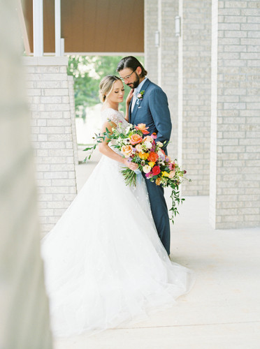 Wedding couple on the porch